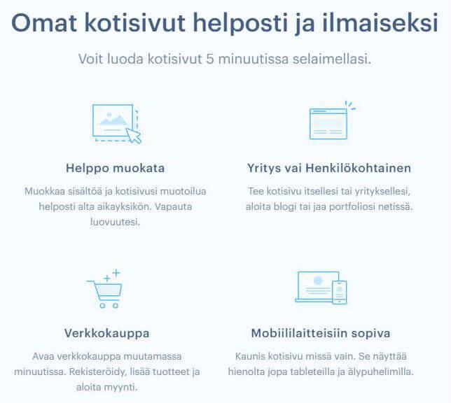 Webnode ominaisuudet